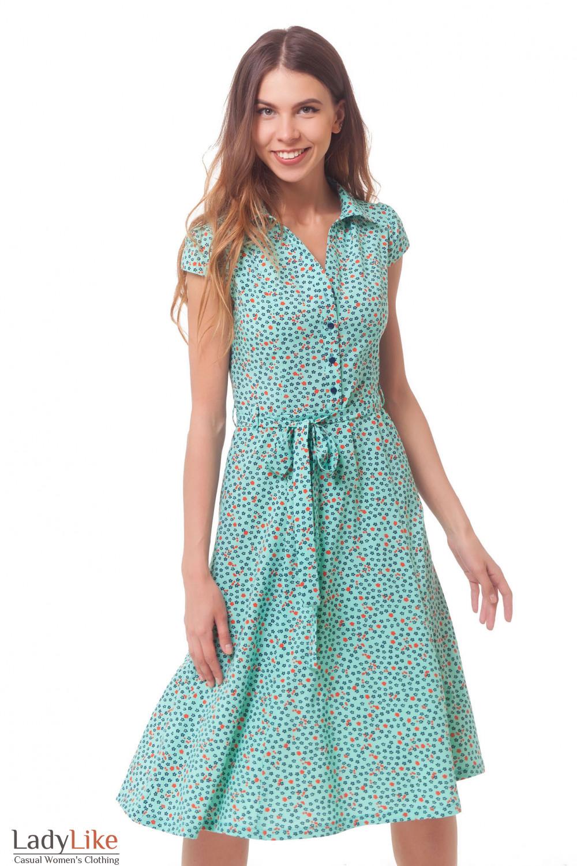 Платье бирюзовое в синий цветочек Деловая женская одежда