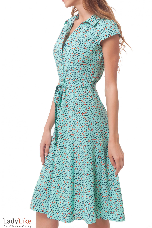 Купить платье бирюзовое в синий цветочек Деловая женская одежда