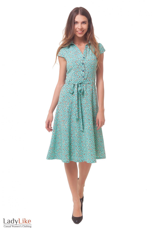 Купить платье бирюзовое в цветочек Деловая женская одежда