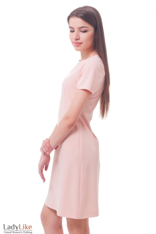 Купить платье бледно-розовое с коротким рукавом Деловая женская одежда
