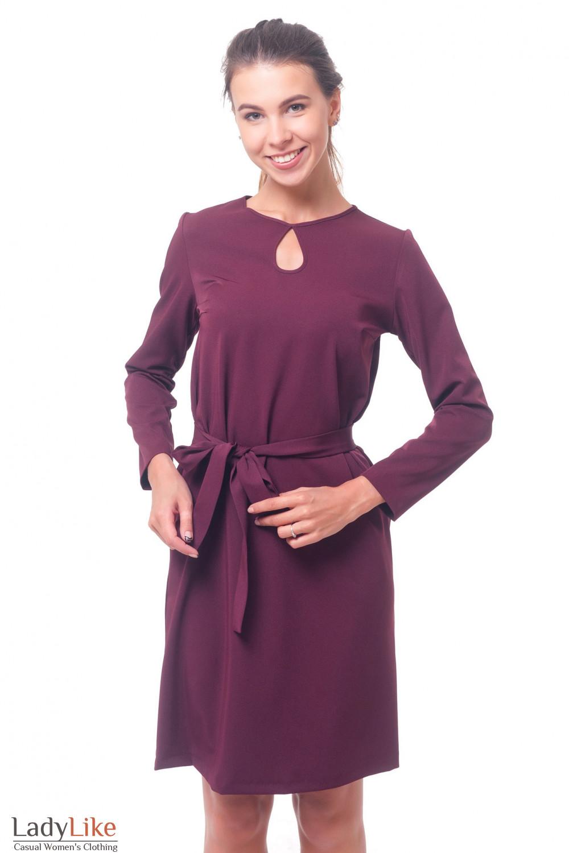 Платье бордовое с капелькой Деловая женская одежда
