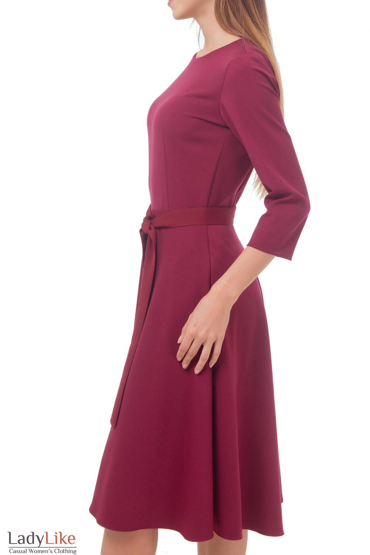 Купить платье бордовое с пышной юбкой миди Деловая женская одежда