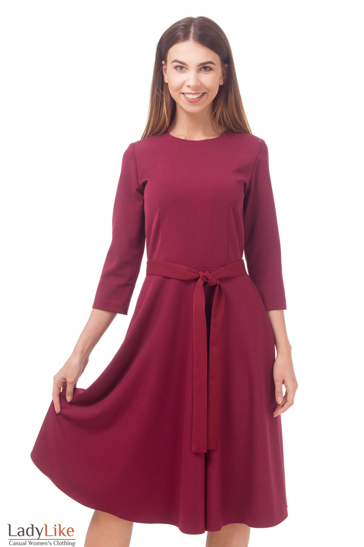 Купить платье бордовое с пышной юбкой Деловая женская одежда