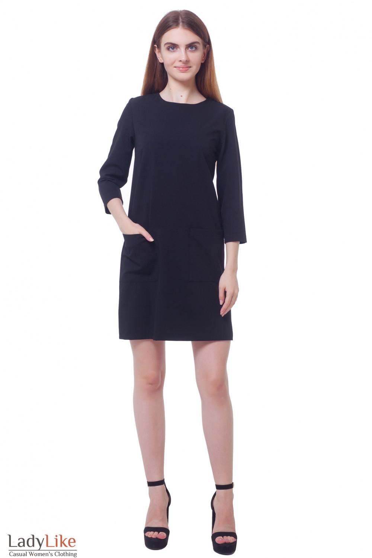Купить платье черное с накладными карманами Деловая женская одежда