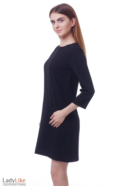 Купить строгое платье черное с накладными карманами  Деловая женская одежда