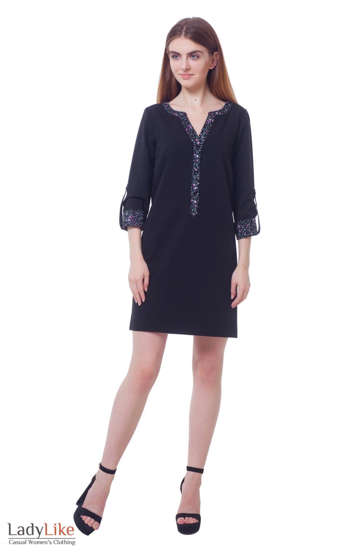 Купить платье черное с планкой в цветочек Деловая женская одежда