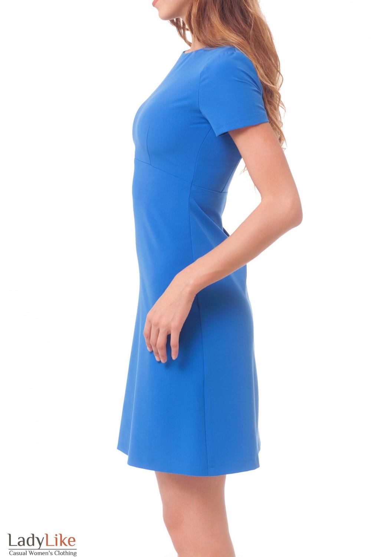 Купить платье голубое с коротким рукавом Деловая женская одежда