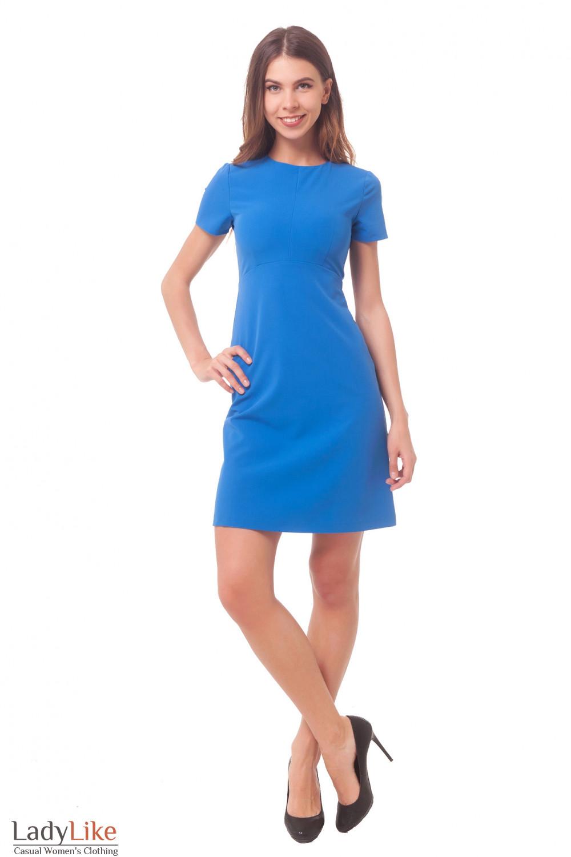 Купить строгое голубое платье с коротким рукавом Деловая женская одежда