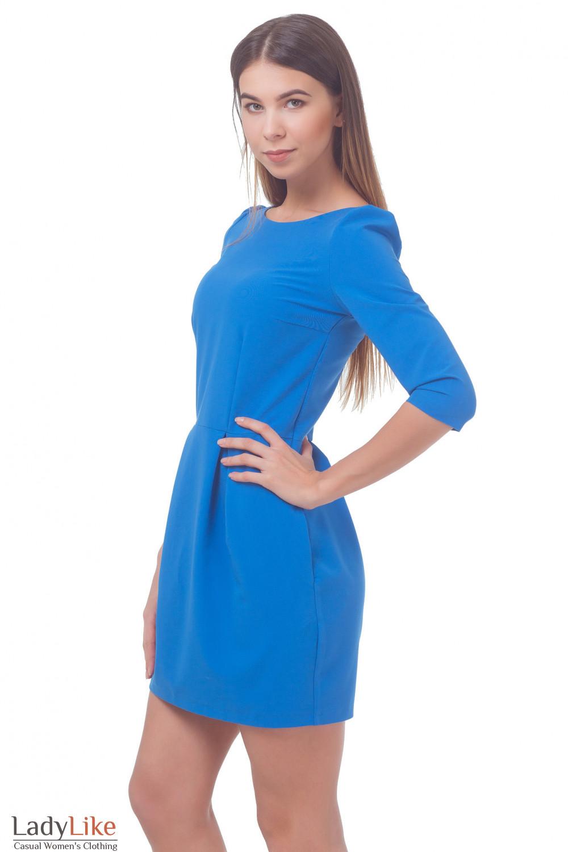 Купить платье голубое с юбкой-тюльпаном Деловая женская одежда