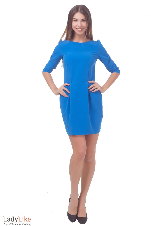 Купить  голубое платье с юбкой-тюльпаном  Деловая женская одежда