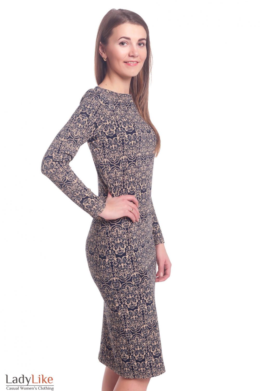 Купить платье из трикотажа в бежевый рисунок Деловая женская одежда