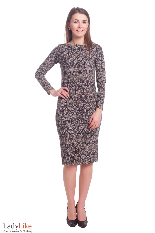 Купить платье-чехол из трикотажа в бежевый рисунок Деловая женская одежда