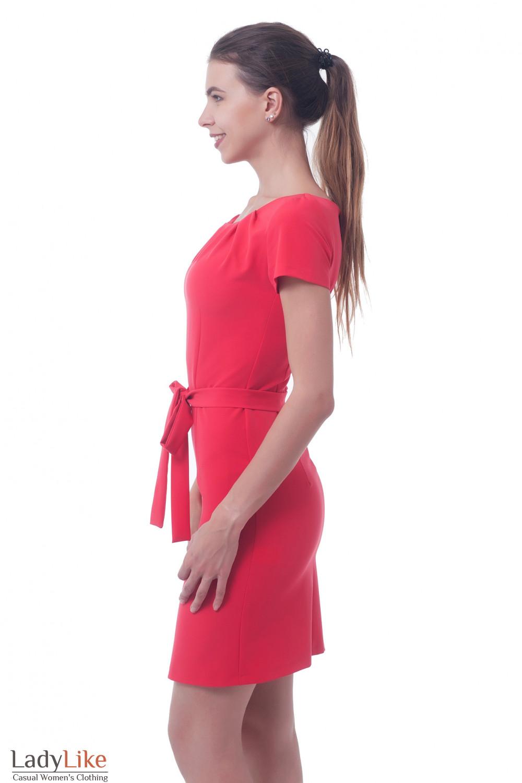 Купить платье коралловое с защипали на горловине Деловая женская одежда