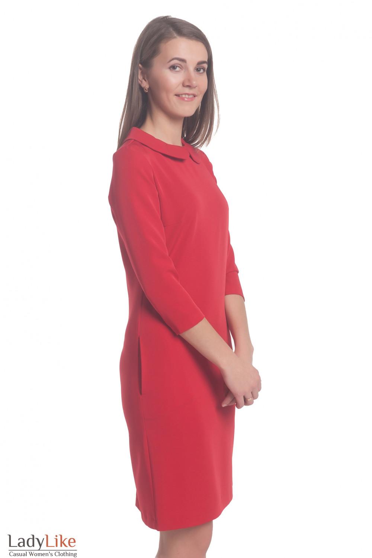 Купить платье красное с отложным воротником Деловая женская одежда