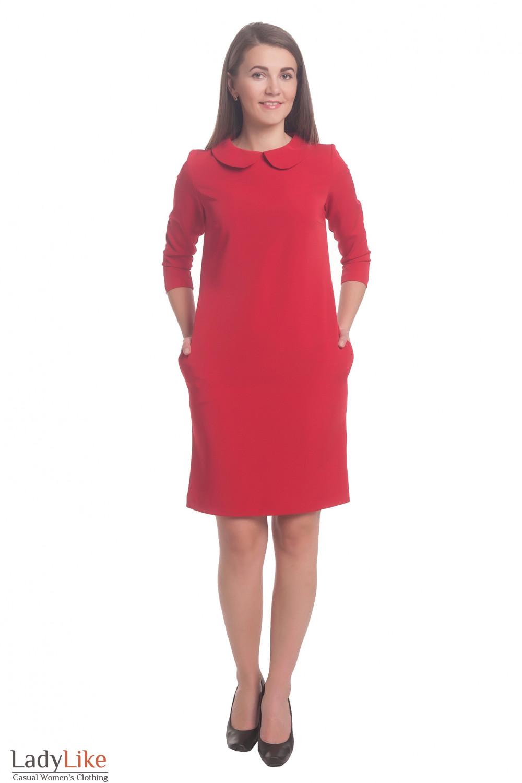 Купить платье красное с красным воротником  Деловая женская одежда