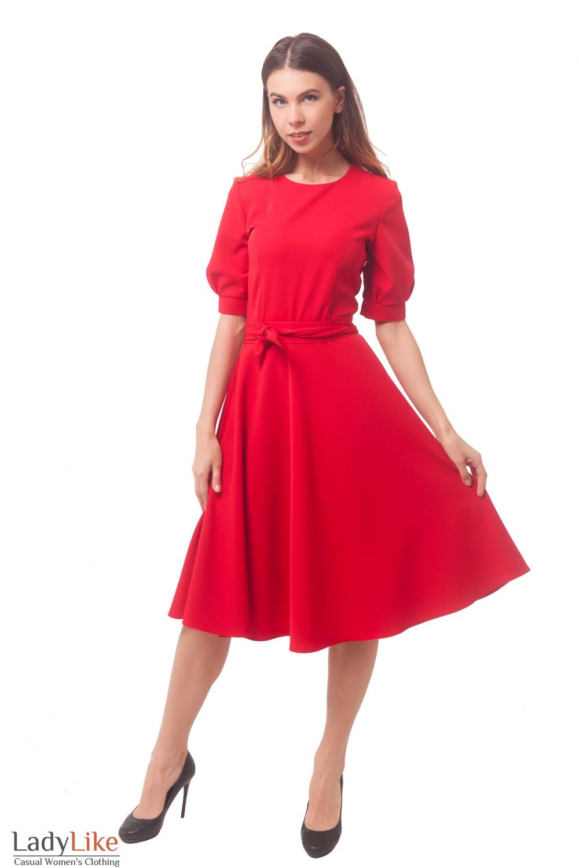 Купить платье красное с юбкой-миди Деловая женская одежда