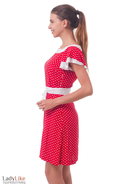 Купить платье красное в белый горошек Деловая женская одежда