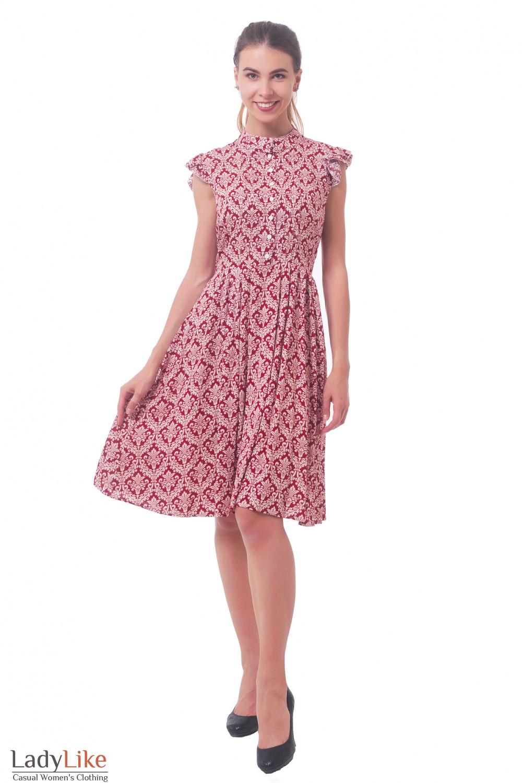 Купить платье красное в белый узор Деловая женская одежда