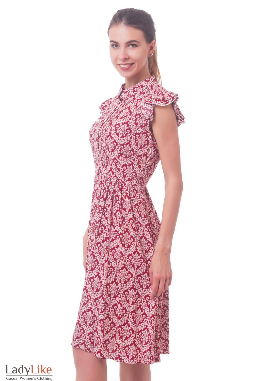 Купить платье красное в узор  Деловая женская одежда