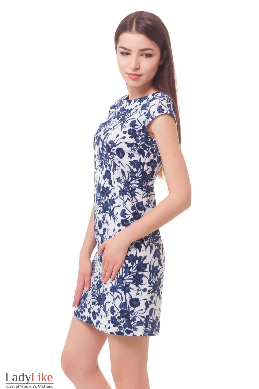 Купить платье льняное в синие цветы Деловая женская одежда