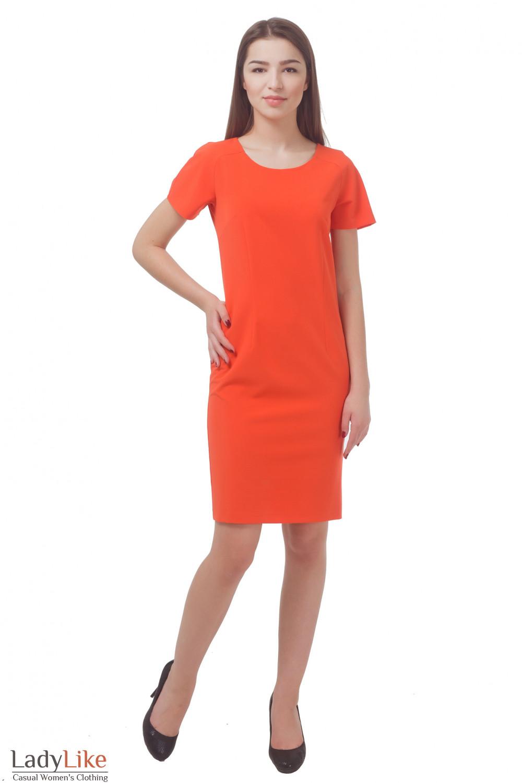 Купить платье оранжевое с коротким рукавом  Деловая женская одежда