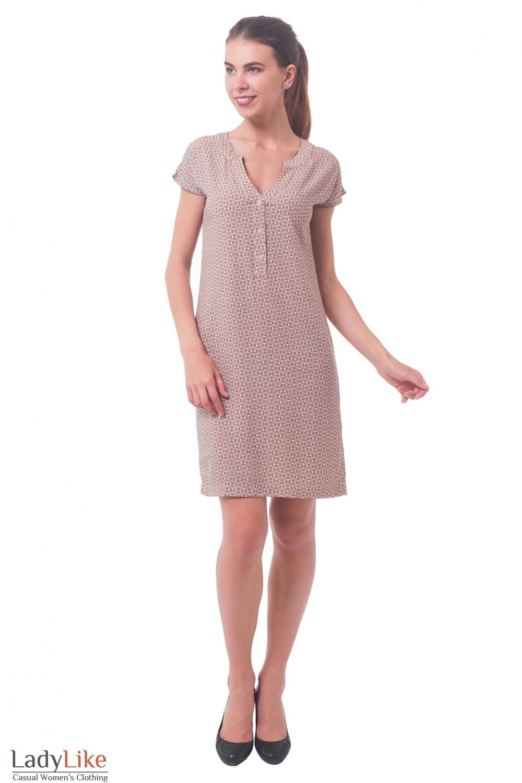 Купить платье прямое в мелкий коричневый узор Деловая женская одежда