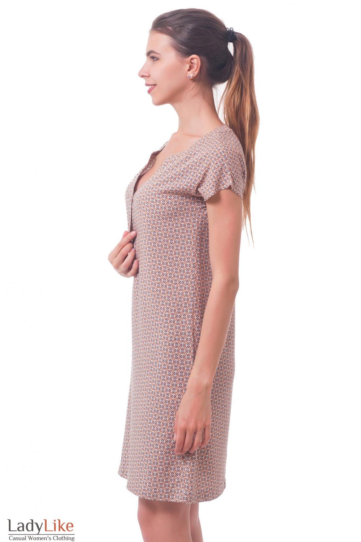Купить платье в мелкий коричневый узор Деловая женская одежда