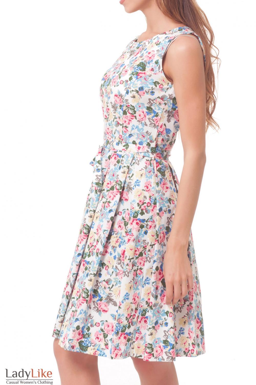 Купить платье с пышной юбкой в разноцветный цветочек Деловая женская одежда
