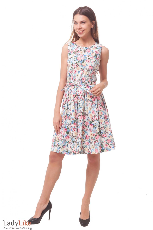 Купить платье в разноцветный цветочек Деловая женская одежда