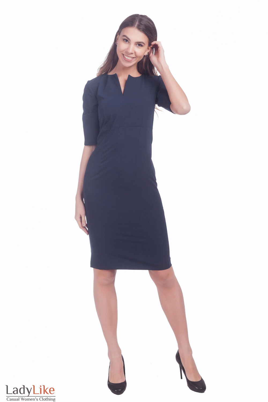 Фото Платье с разрезом на рукаве синее Деловая женская одежда