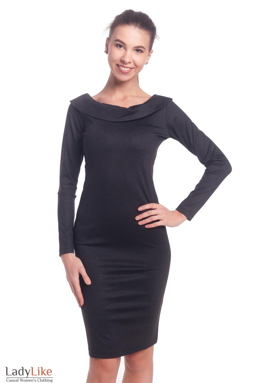 Платье серое с открытой спиной Деловая женская одежда