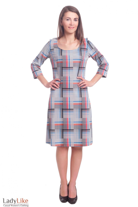 Купить платье серое в клетку  Деловая женская одежда