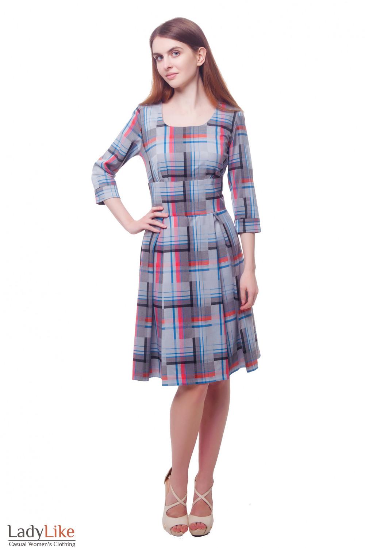 Купить серое платье в полоску Деловая женская одежда фото