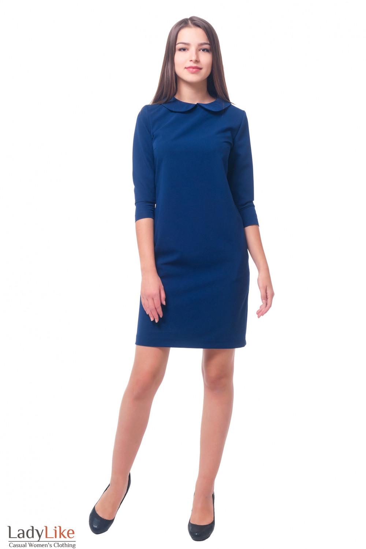 Купить платье синее с синим отложным воротником Деловая женская одежда