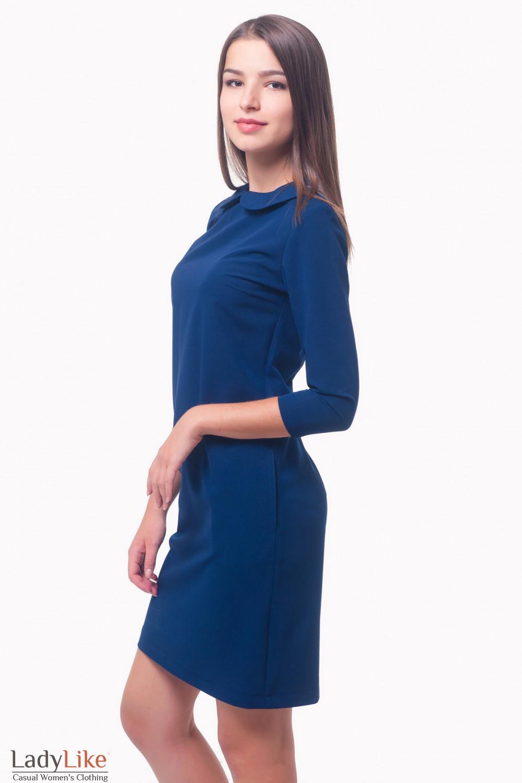 Купить платье с синим отложным воротником Деловая женская одежда