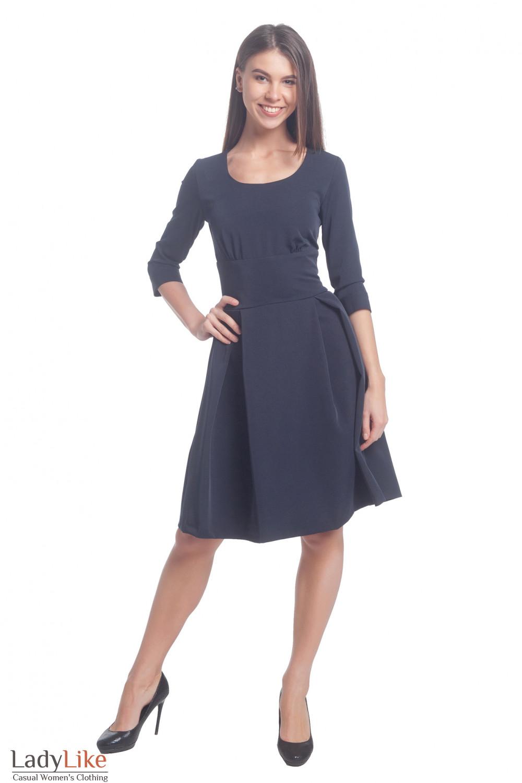 Купить платье синее с высокой талией и поясом. Деловая женская одежда