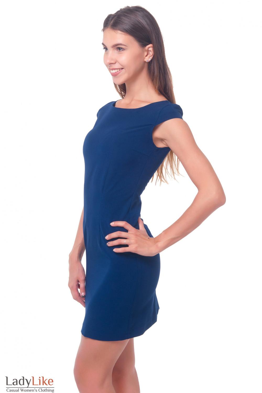 Купить платье темно-синее строгое с рукавчиком Деловая женская одежда