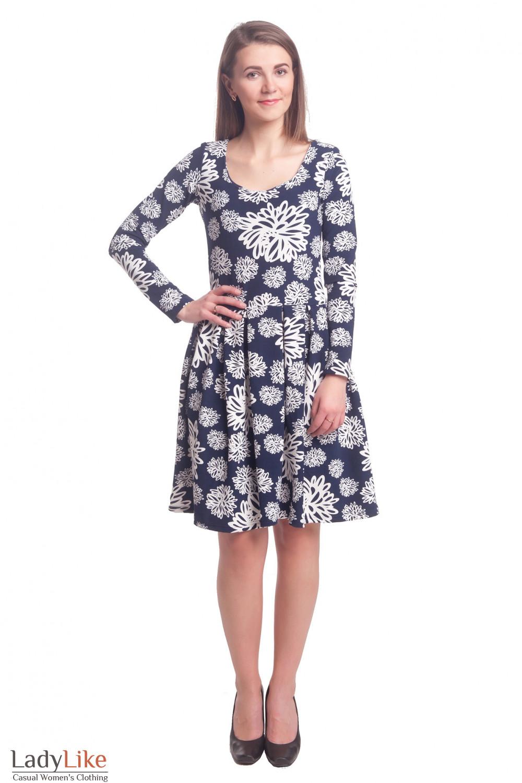 Купить платье синее в белый узор с пышной юбкой Деловая женская одежда