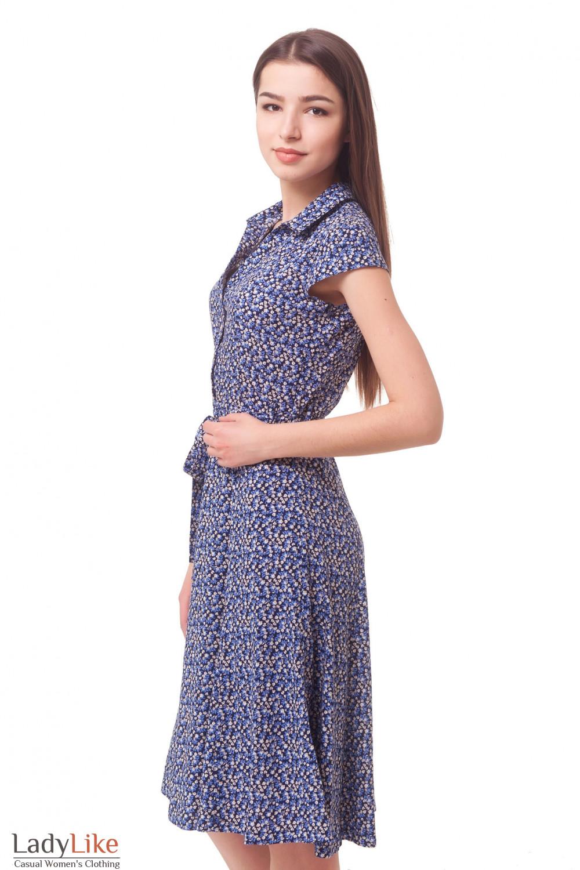 Купить платье синее в бежевый цветочек из штапеля Деловая женская одежда