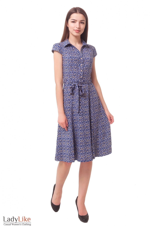 Купить платье в бежевый цветочек из штапеля Деловая женская одежда