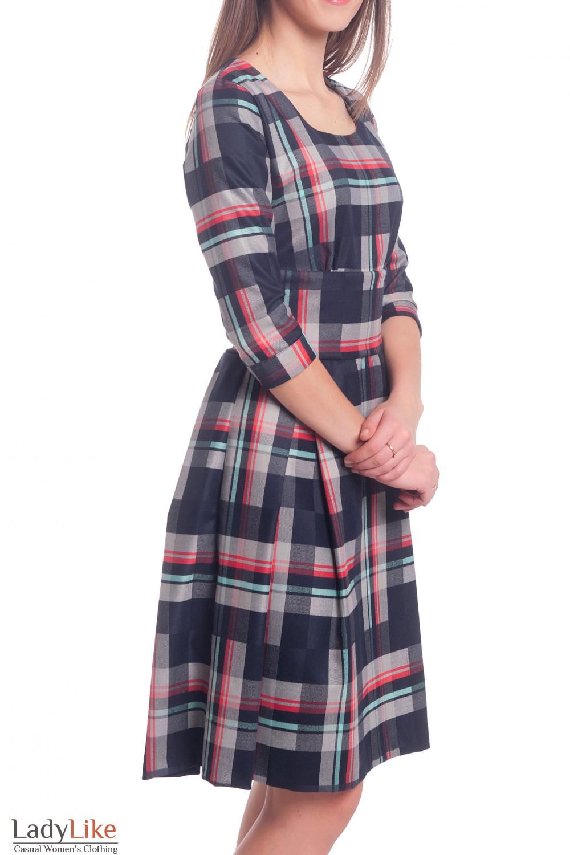 Купить платье синее в бирюзовую полоску Деловая женская одежда