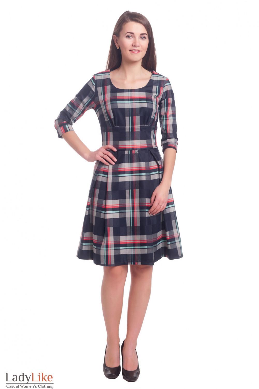 Купить платье синее в полоску Деловая женская одежда