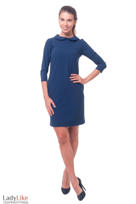Купить платье синее в мелкую полоску с карманами Деловая женская одежда