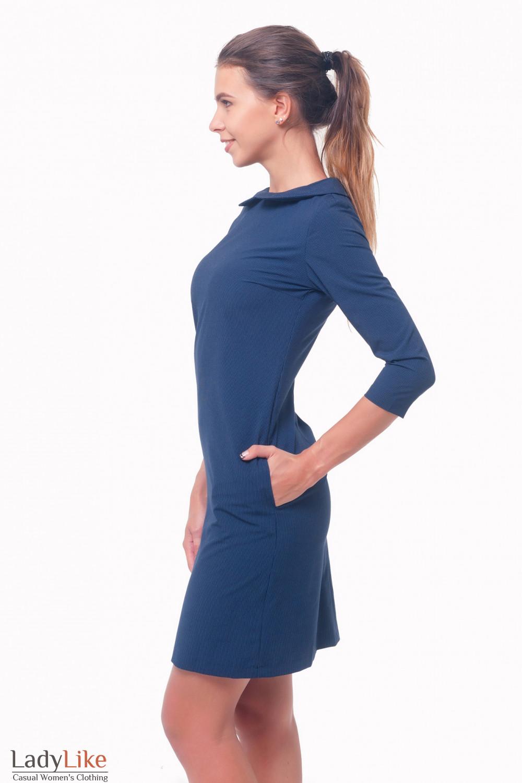 Купить платье синее в мелкую полоску Деловая женская одежда