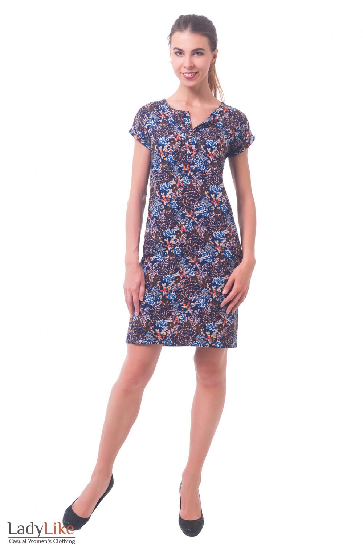 Купить платье синее в оранжевый цветочек Деловая женская одежда