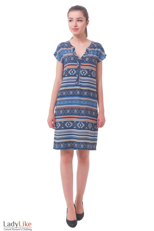 Купить платье синее в орнамент с планкой Деловая женская одежда