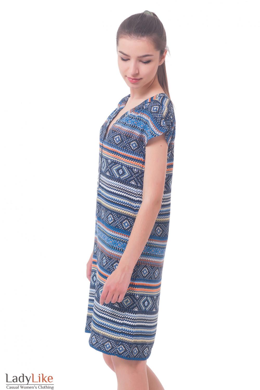 Купить платье в орнамент с планкой Деловая женская одежда