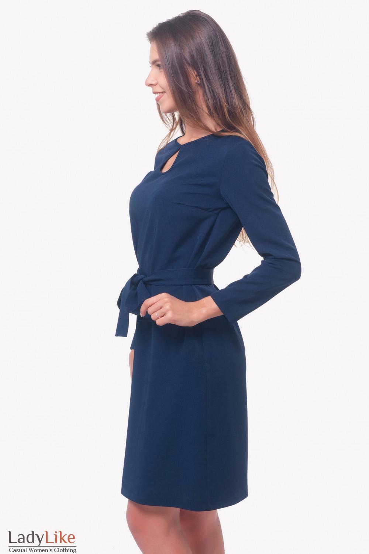 Купить платье темно-синее с поясом Деловая женская одежда