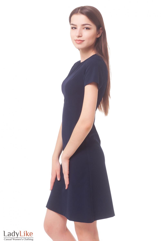 Купить платье темно-синее с коротким рукавом Деловая женская одежда