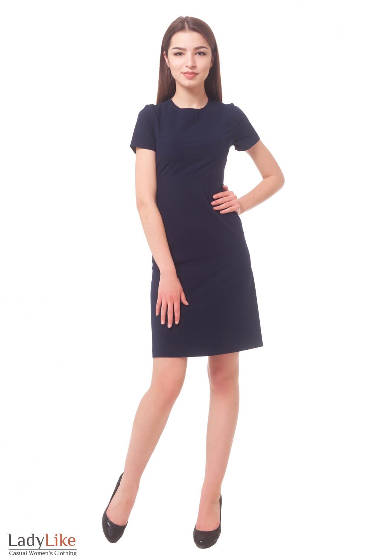 Синие платье с коротким рукавом